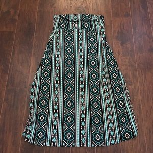 Black white and turquoise eye candy maxi skirt 2X